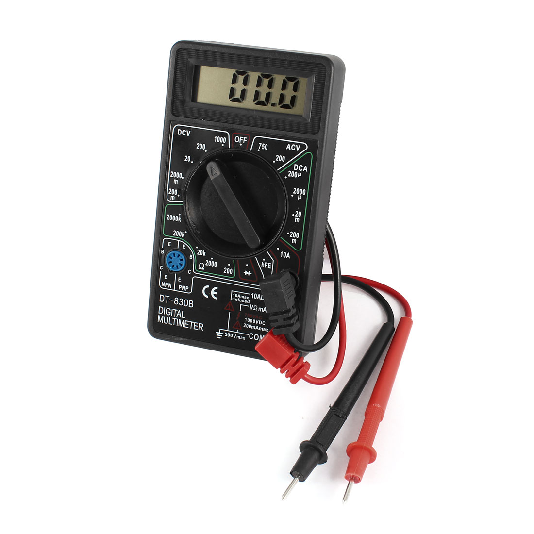 DT-830B AC DC Voltage Current Resistance Digital LCD Multimeter w Test Leads