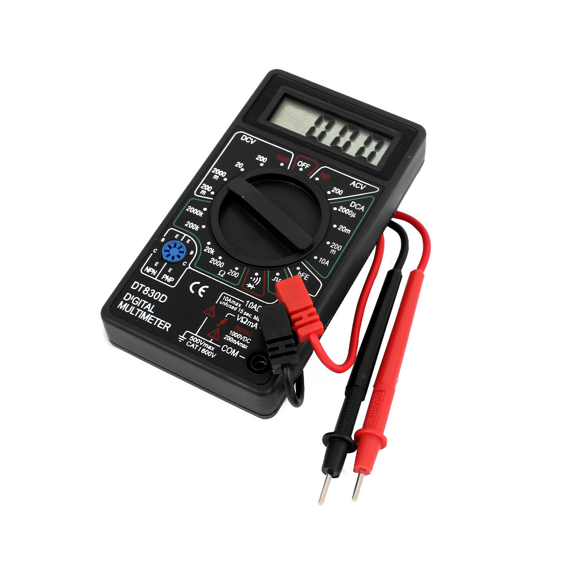DT-830D AC DC Voltage Current Resistance hFE Digital LCD Multimeter w Test Leads