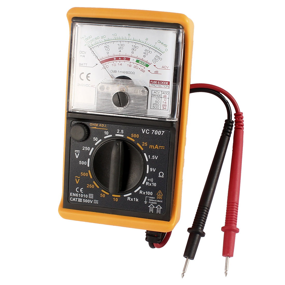 VC7007 AC DC Voltage Current Resistance Tester Analogue Multimeter w Test Leads