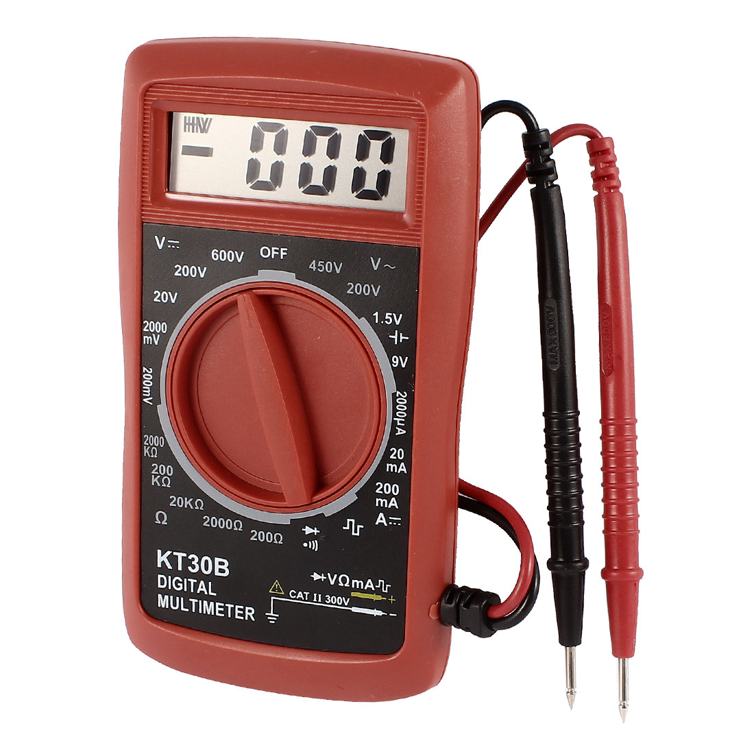 KT30B LCD Display AC DC Volt Ammeter Ohm Tester Digital Multimeter w Test Leads