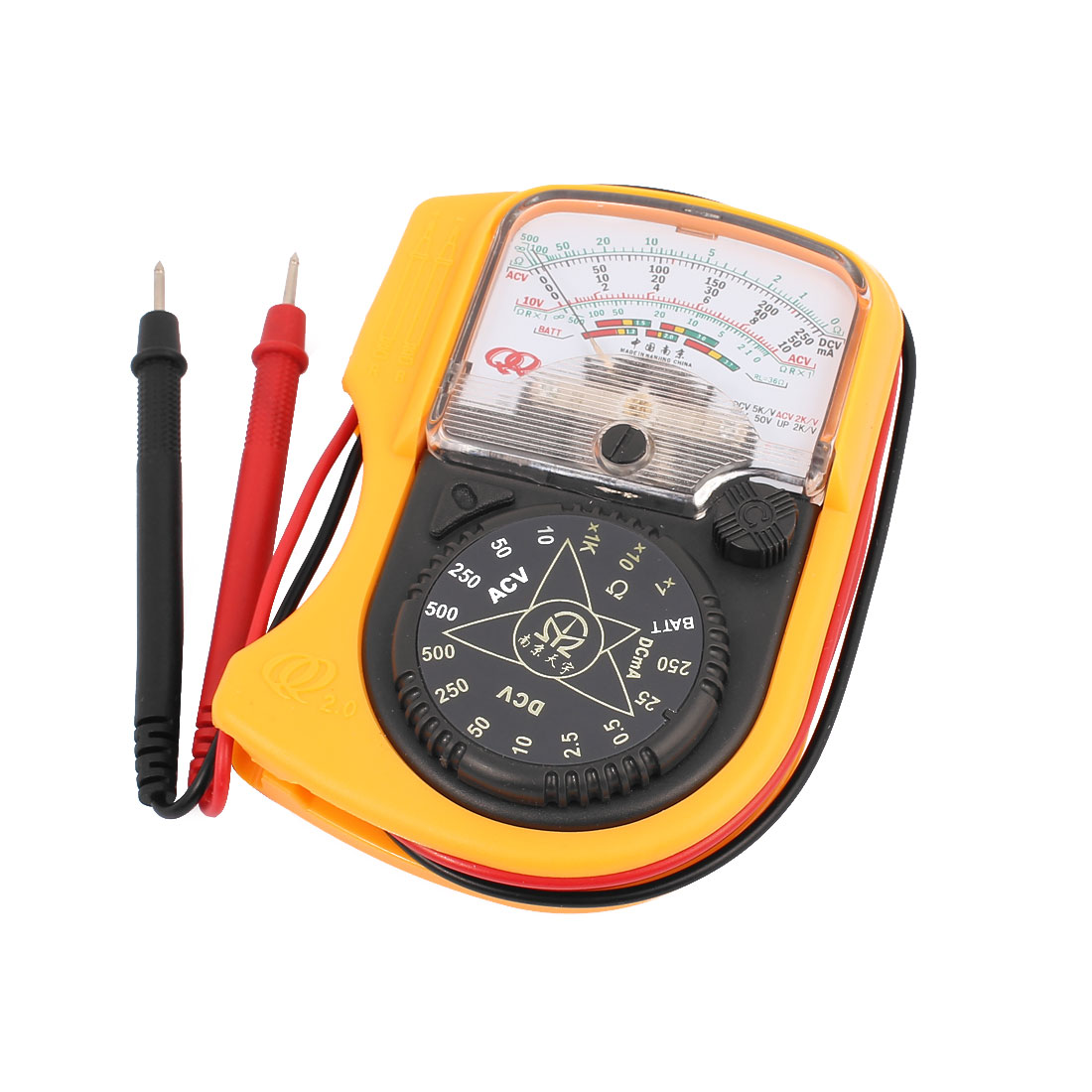AC DC Voltage Current Resistance Tester Pocket Analogue Multimeter w Test Leads