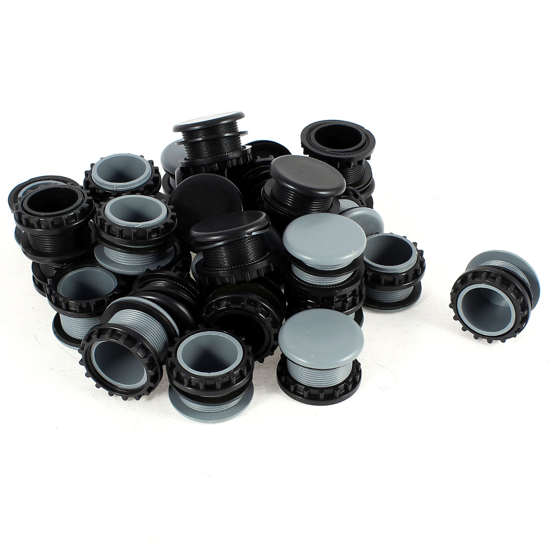 30 Pcs Black + Gray Plastic Push Button Switch 22mm Mount Hole Panel Cover Cap