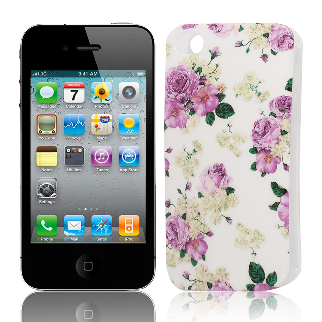 Fuchsia Flower Pattern Soft Plastic Protective Skin Cover Case for Apple iPhone 4 4G 4S