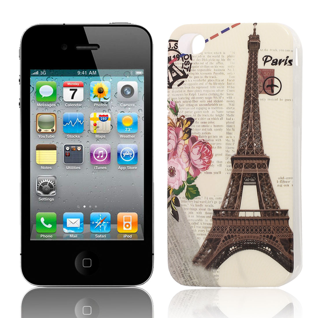 Paris Tower Pattern Soft Plastic Protective Skin Cover Case for Apple iPhone 4 4G 4S