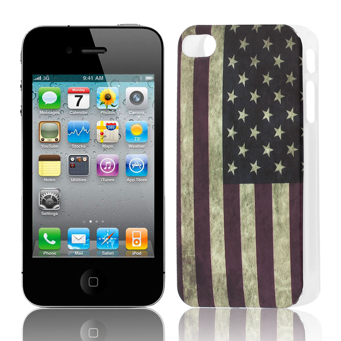 US Flag Pattern Soft Plastic Protective Skin Cover Case for Apple iPhone 4 4G 4S