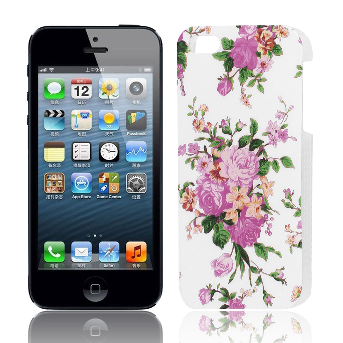 Pink Fuchsia Flower Pattern Hard Plastic Protective Back Case Cover for Apple iPhone 5 5G 5S