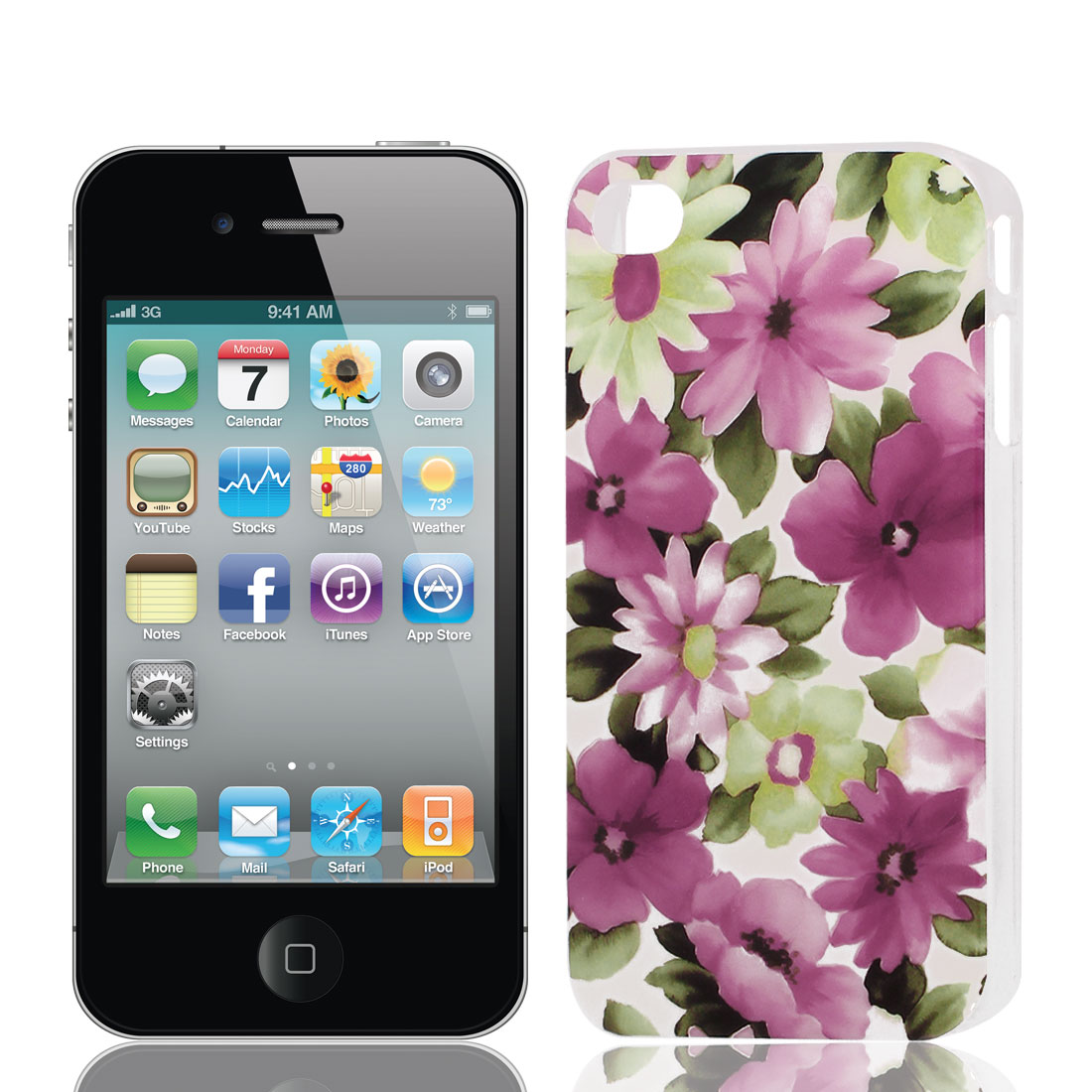 Red Pink Flower Pattern Hard Plastic Protective Back Case Cover for Apple iPhone 4 4G 4S