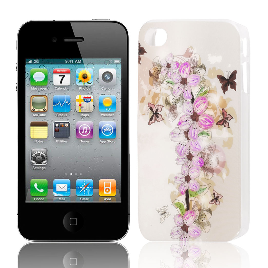 Purple Flower Butterfly Pattern Hard Plastic Protective Back Case Cover for Apple iPhone 4 4G 4S