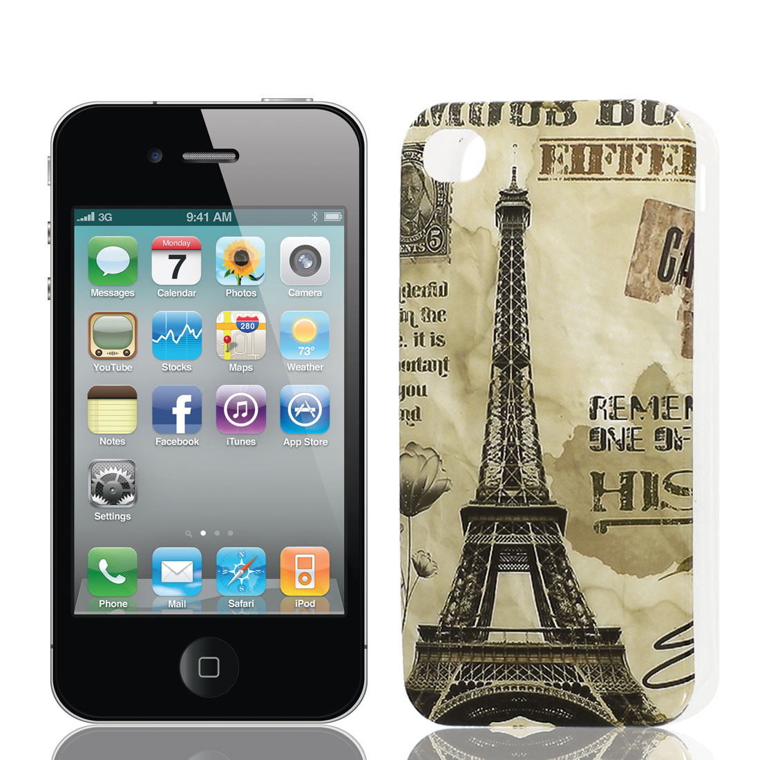 Eiffel Tower Pattern Soft Plastic Protective Skin Cover Case for Apple iPhone 4 4G 4S