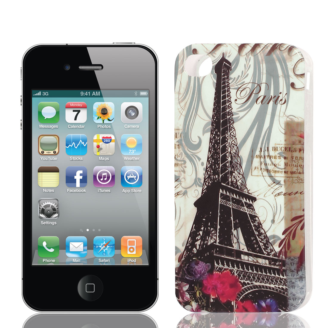 Black Eiffel Tower Pattern Soft Plastic Protective Skin Case Cover for Apple iPhone 4 4G 4S