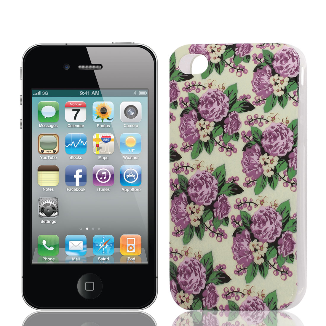 Purple Flower Pattern Soft Plastic Protective Cover Case for Apple iPhone 4 4G 4S