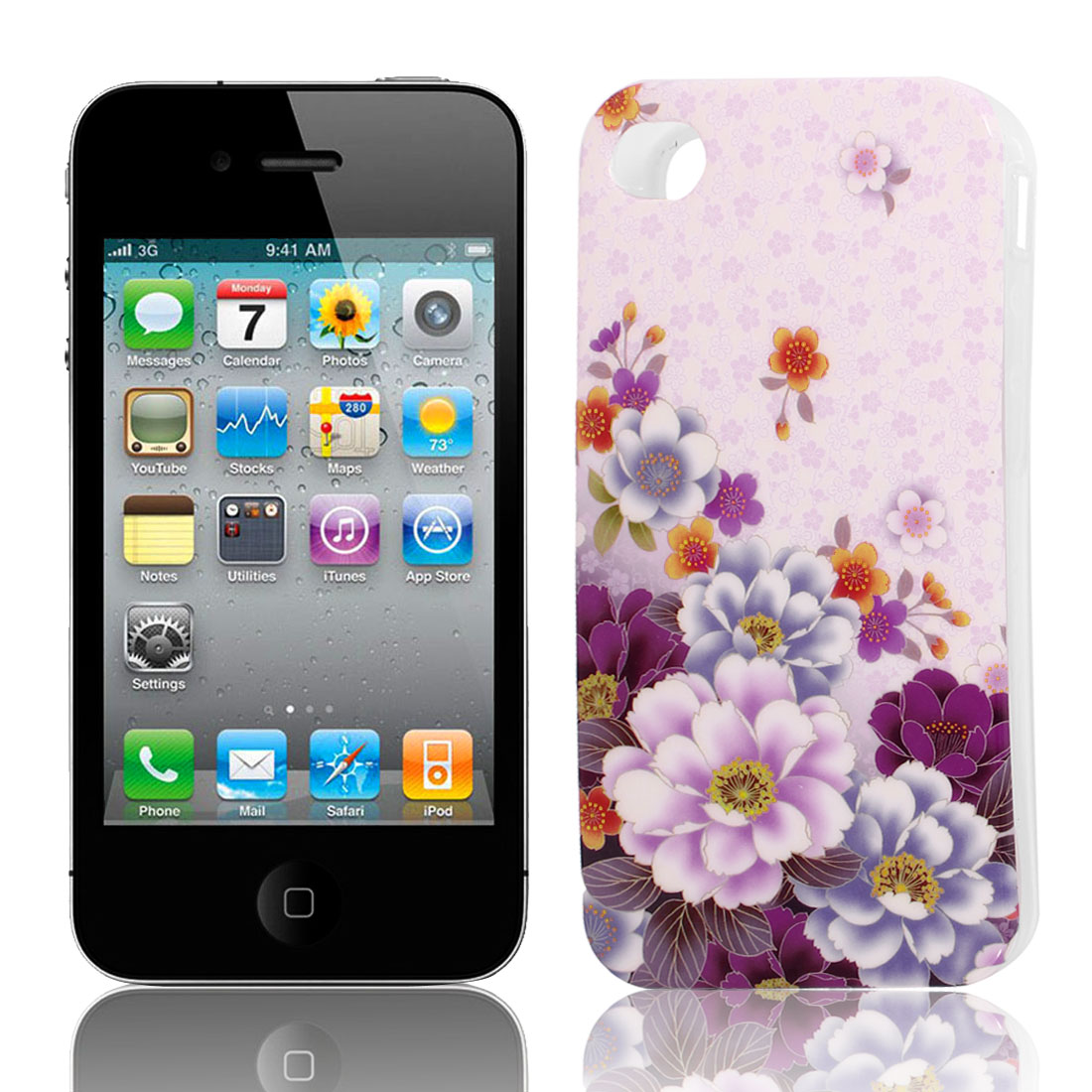 Pink Purle Flower Pattern Soft Plastic Protective Skin Cover Case for Apple iPhone 4 4G 4S