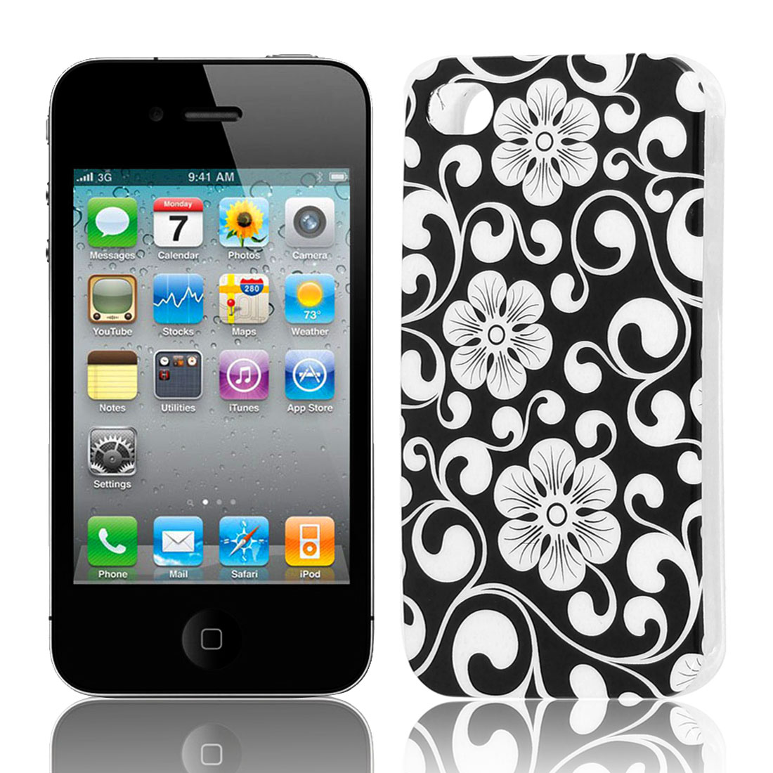 White Black Flower Pattern Soft Plastic Protective Skin Cover Case for Apple iPhone 4 4G 4S