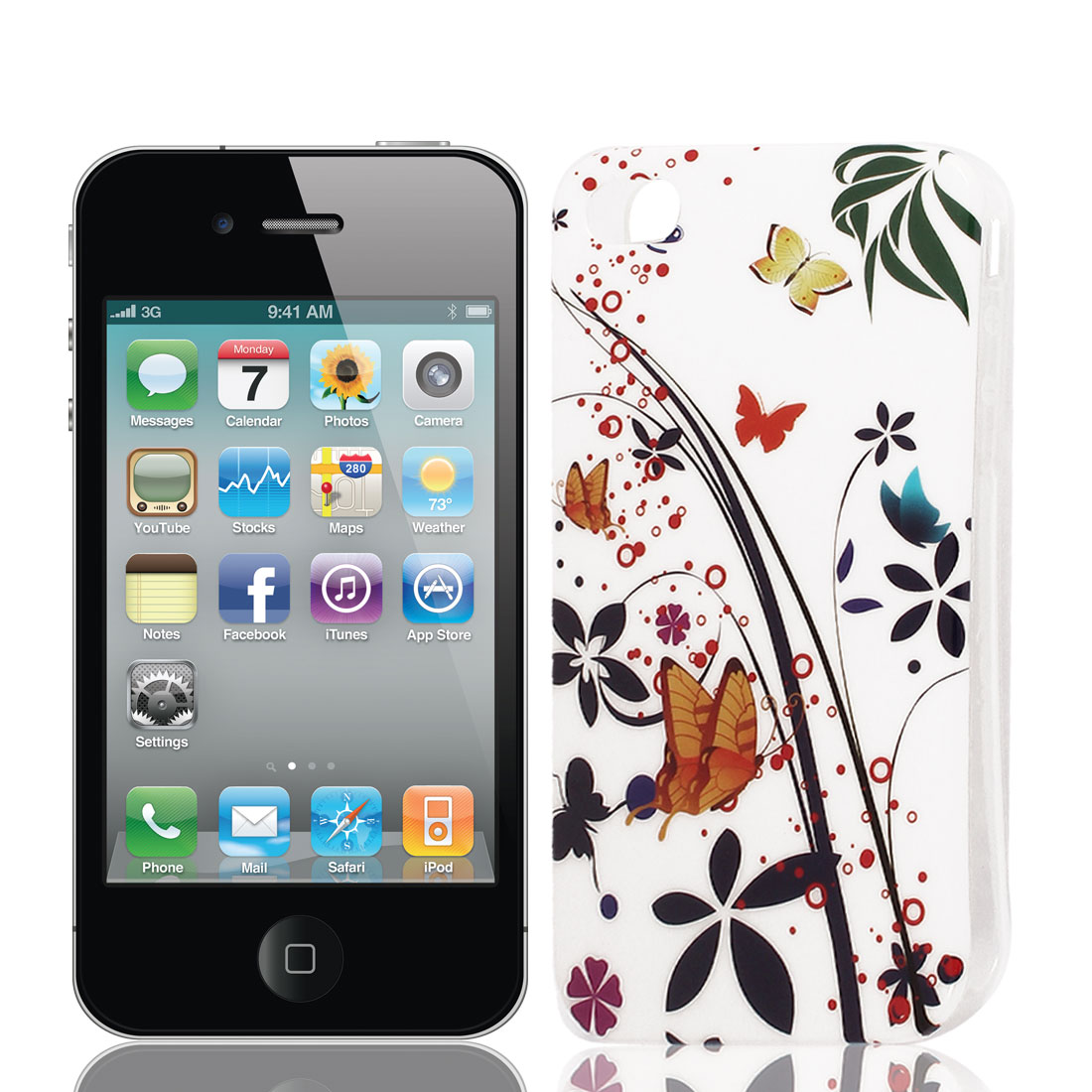 Butterfly Pattern Soft Plastic Protective Skin Cover Case Black White for Apple iPhone 4 4G 4S