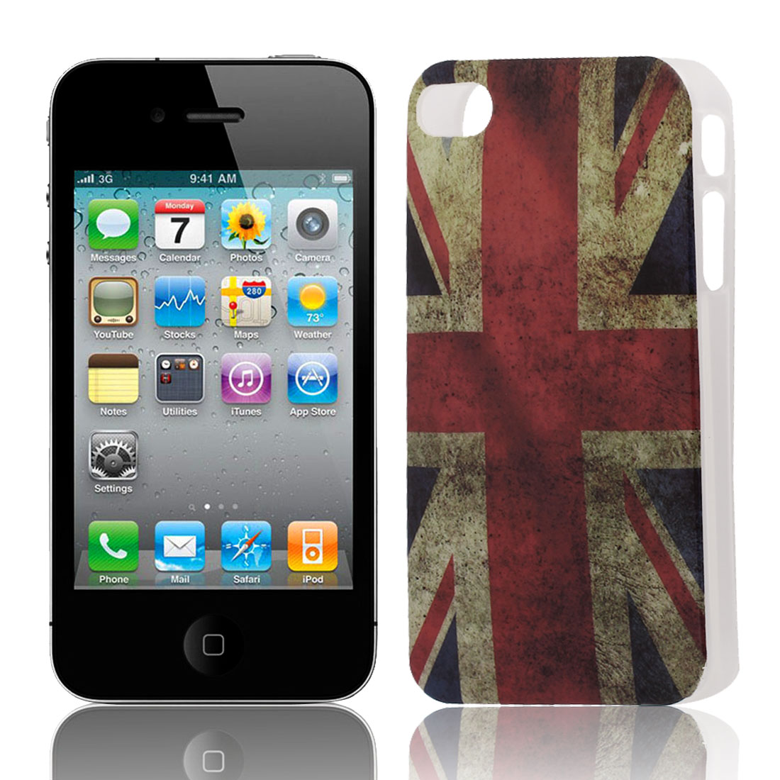 UK Flag Pattern Soft Plastic Protective Skin Cover Case for Apple iPhone 4 4G 4S