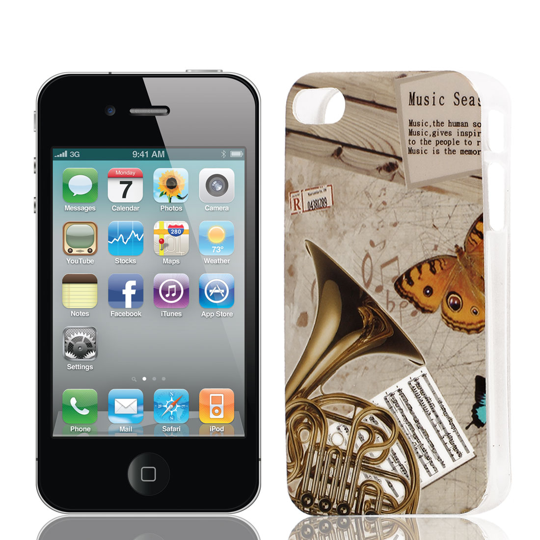 French Horn Pattern Soft Plastic Protective Skin Cover Case Brown for Apple iPhone 4 4G 4S