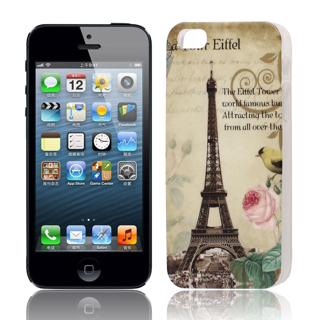 Eiffel Tower Print Hard TPU Protective Back Case Cover Brown for Apple iPhone 5 5G 5S