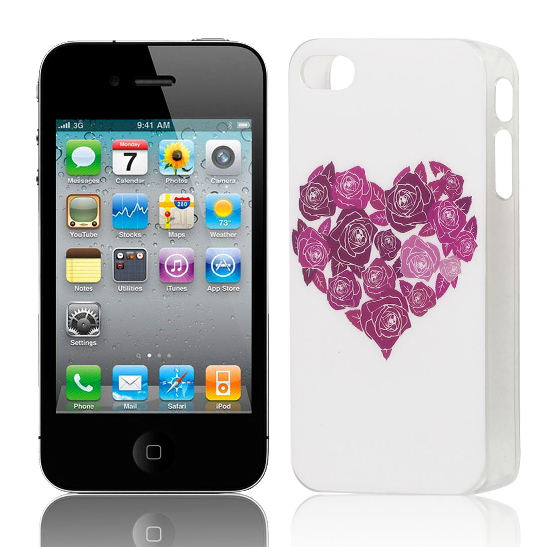 Red Flower Heart Print Hard Plastic Protective Back Case Cover Brown for Apple iPhone 4 4G 4S