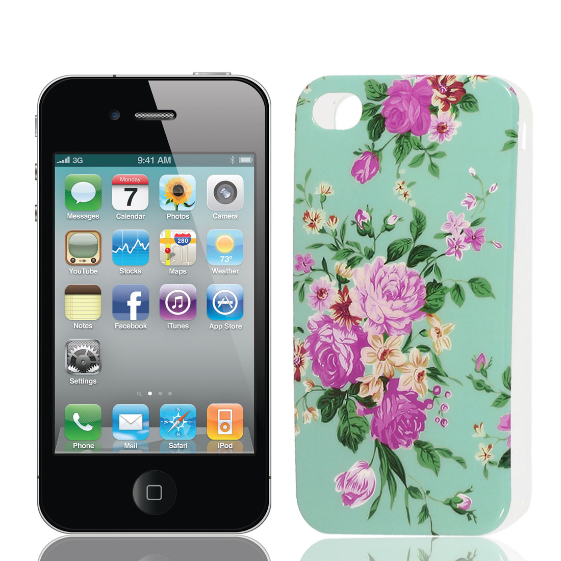 Pink Fuchsia Flower Pattern Soft Plastic Protective Skin Cover Case for Apple iPhone 4 4G 4S