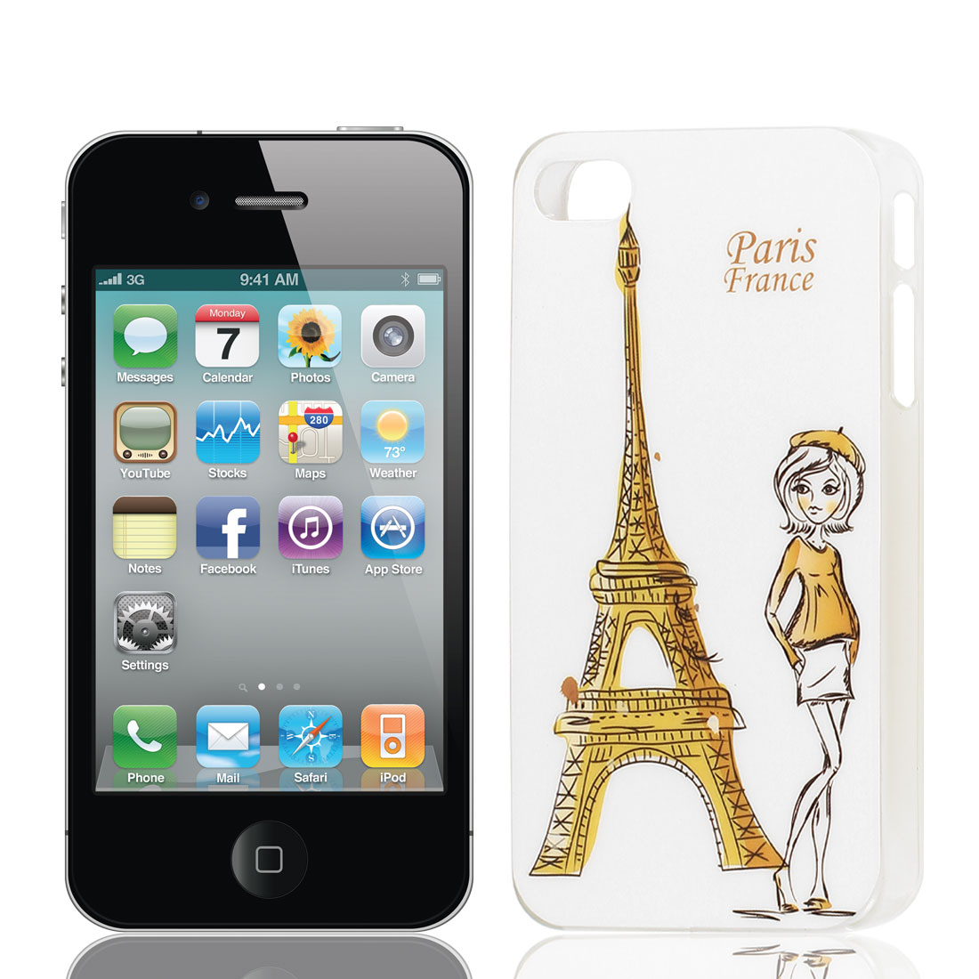 Paris Tower Girl Pattern Hard Plastic Protective Back Cover Case Yellow for Apple iPhone 4 4G 4S
