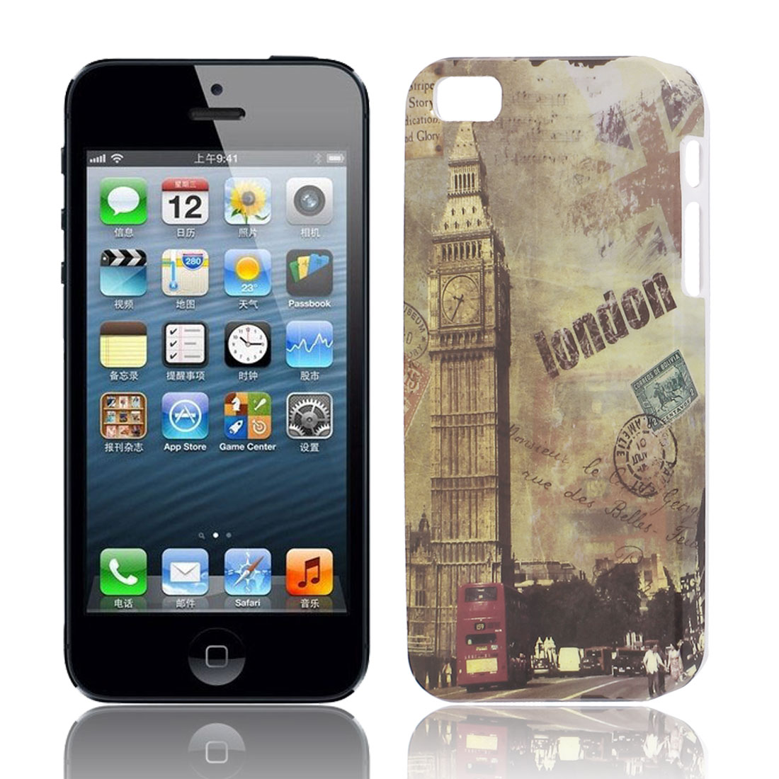 Big Ben Tower Pattern Hard TPU Protective Back Case Cover Brown for Apple iPhone 5 5G 5S