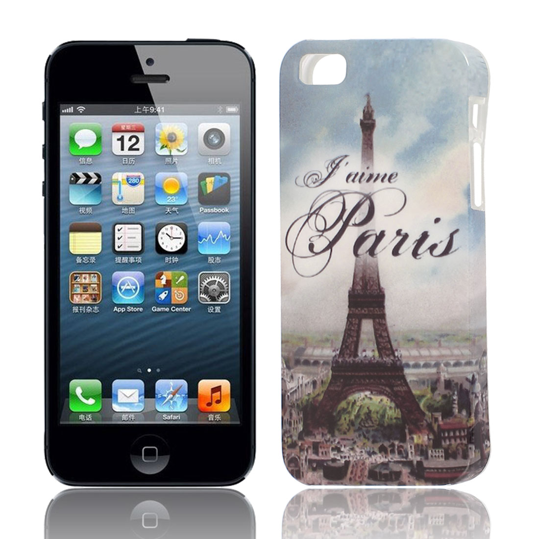 J'aime Paris Pattern Soft TPU Protective Case Cover Blue for Apple iPhone 5 5G 5S