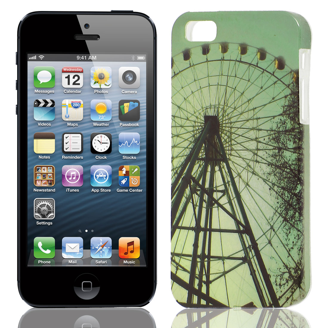 Sky Wheel Pattern Soft TPU Protective Case Cover Green for Apple iPhone 5 5G 5S