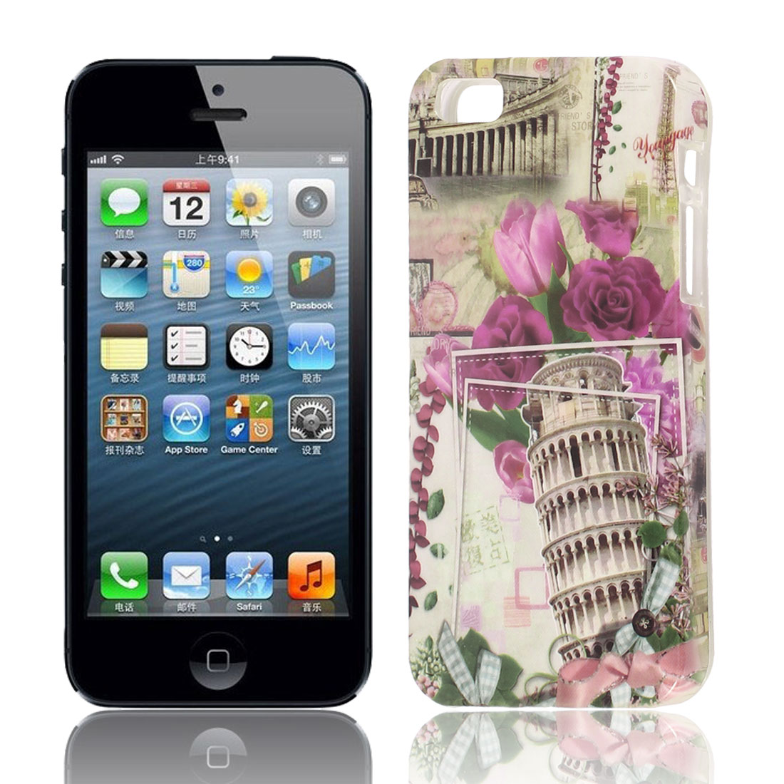 Gray Pisa Tower Pattern Soft TPU Protective Skin Case Cover for Apple iPhone 5 5G 5S