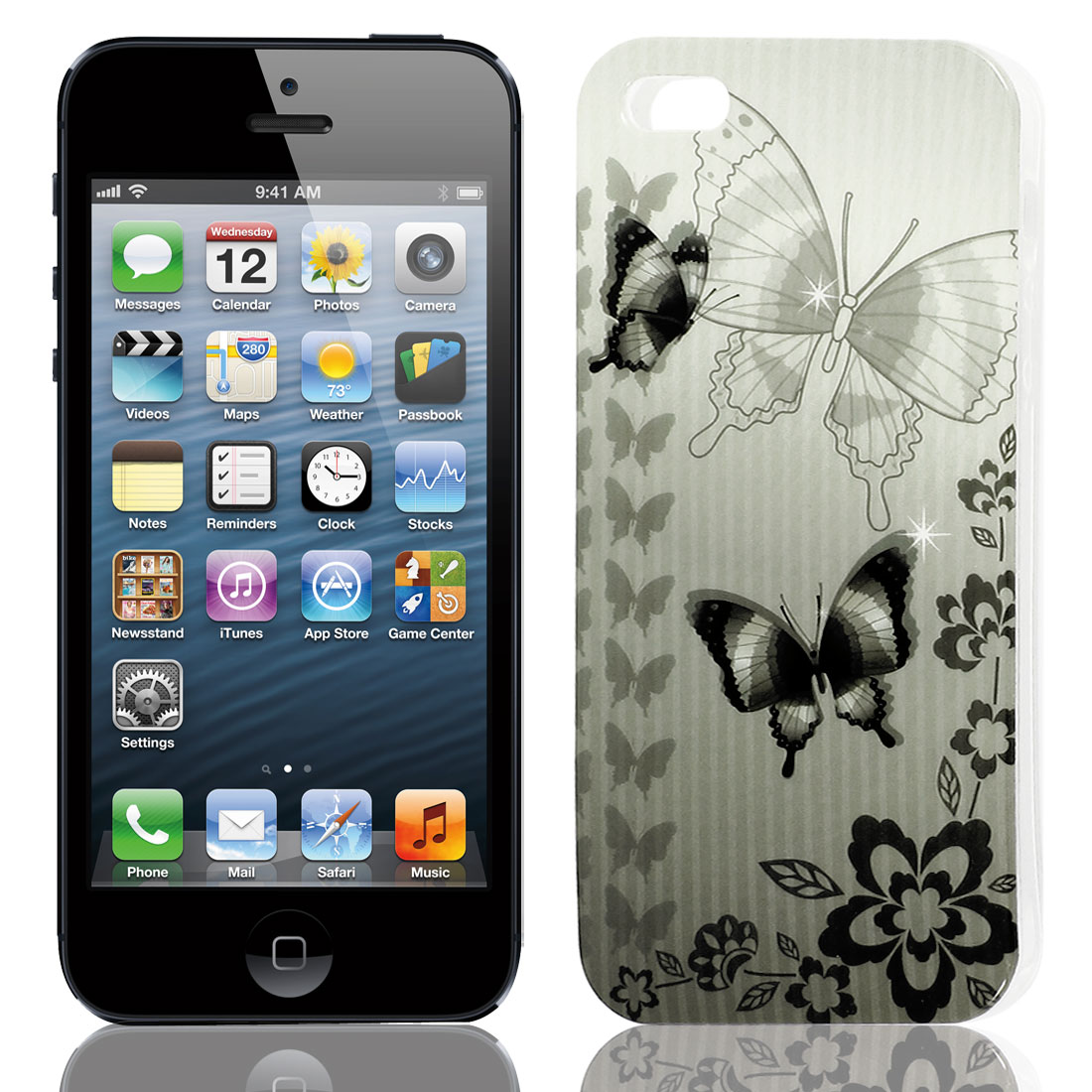 Black Gray Butterfly Pattern Soft TPU Protective Skin Case Cover for Apple iPhone 5 5G 5S