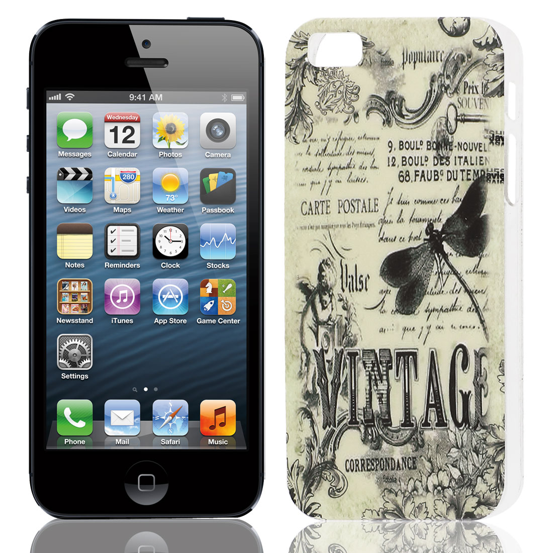 Black Dragonfly Pattern Hard TPU Protective Back Case Cover for Apple iPhone 5 5G 5S