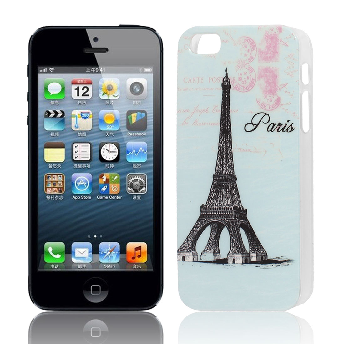 Eiffel Tower Pattern Hard TPU Protective Back Case Cover Blue for Apple iPhone 5 5G 5S