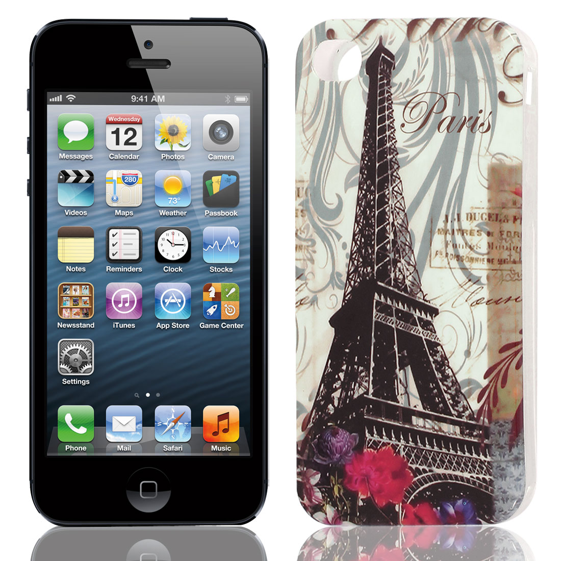 Black Paris Tower Pattern Soft TPU Protective Skin Case Cover for Apple iPhone 5 5G 5S