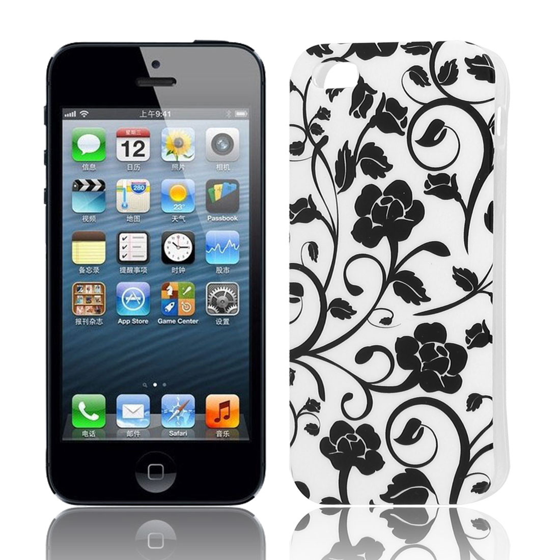White Black Flower Pattern Soft TPU Protective Case Cover for Apple iPhone 5 5G 5S