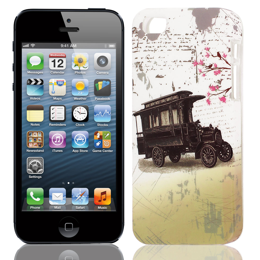 Classic Car Pattern Soft TPU Protective Case Cover White Black for Apple iPhone 5 5G 5S