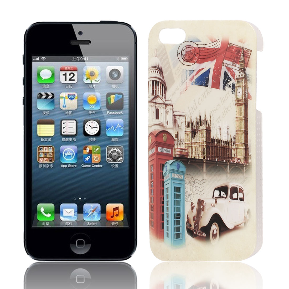 London Postcard Pattern Hard TPU Protective Back Case Cover Beige for Apple iPhone 5 5G 5S