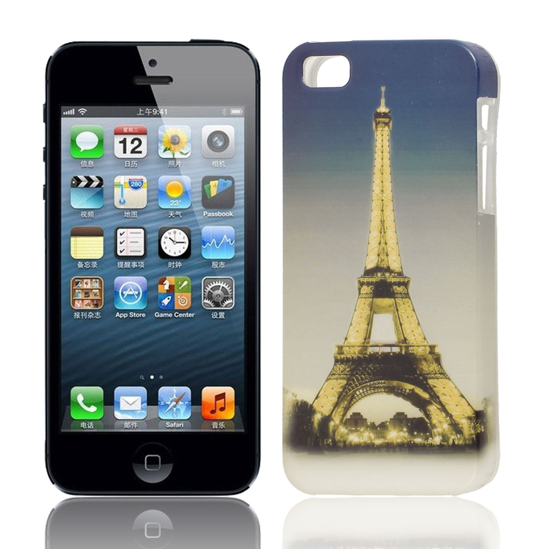 Paris Tower Light Pattern Soft TPU Protective Skin Case Cover Gold Tone for Apple iPhone 5 5G 5S