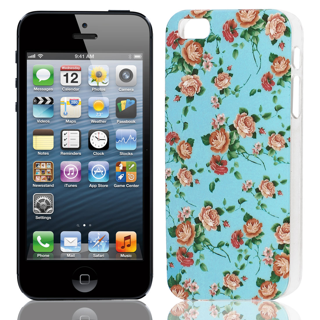 Pink Flower Pattern Hard TPU Protective Back Case Cover Green for Apple iPhone 5 5G 5S