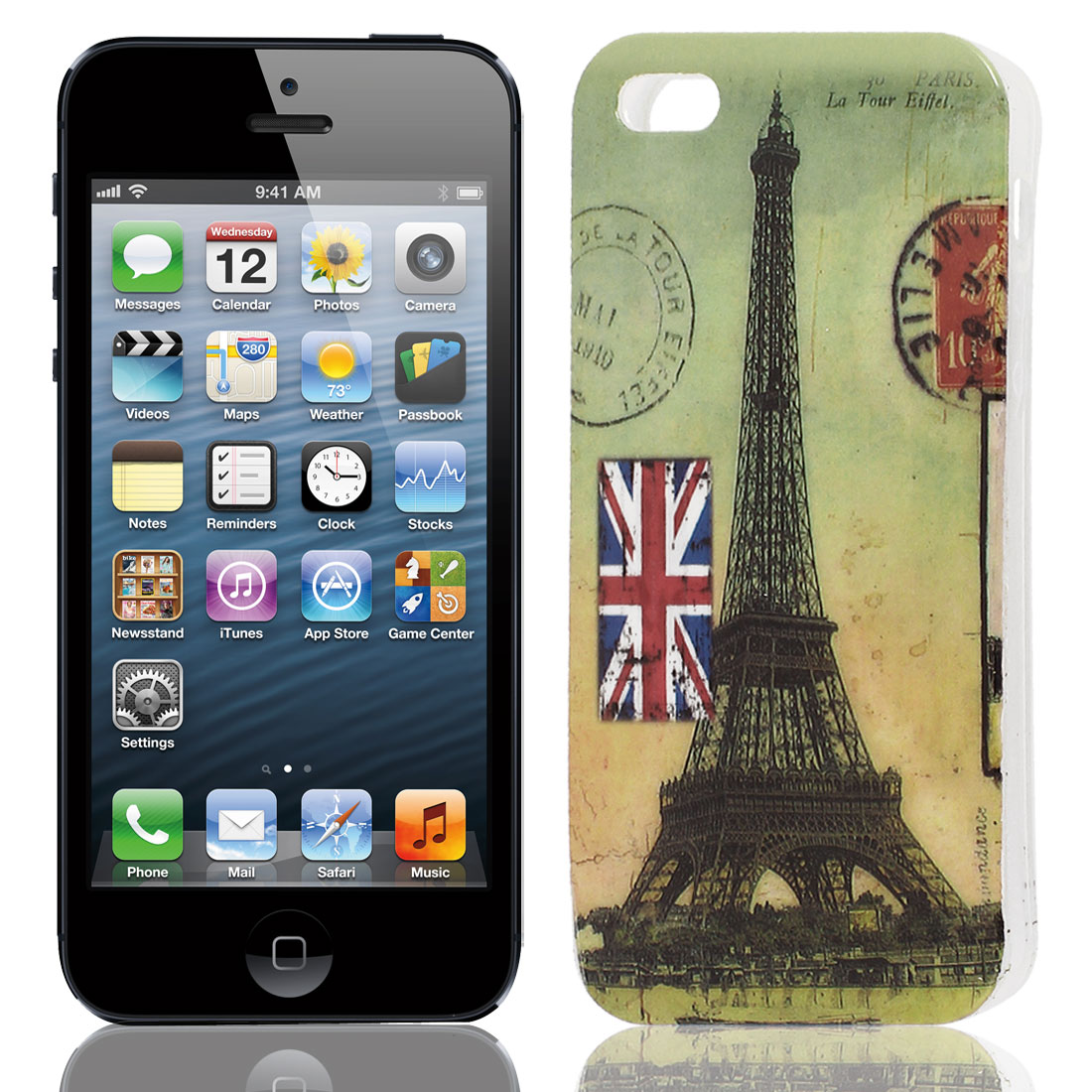 Eiffel Tower UK Flag Pattern Soft TPU Protective Case Cover for Apple iPhone 5 5G 5S