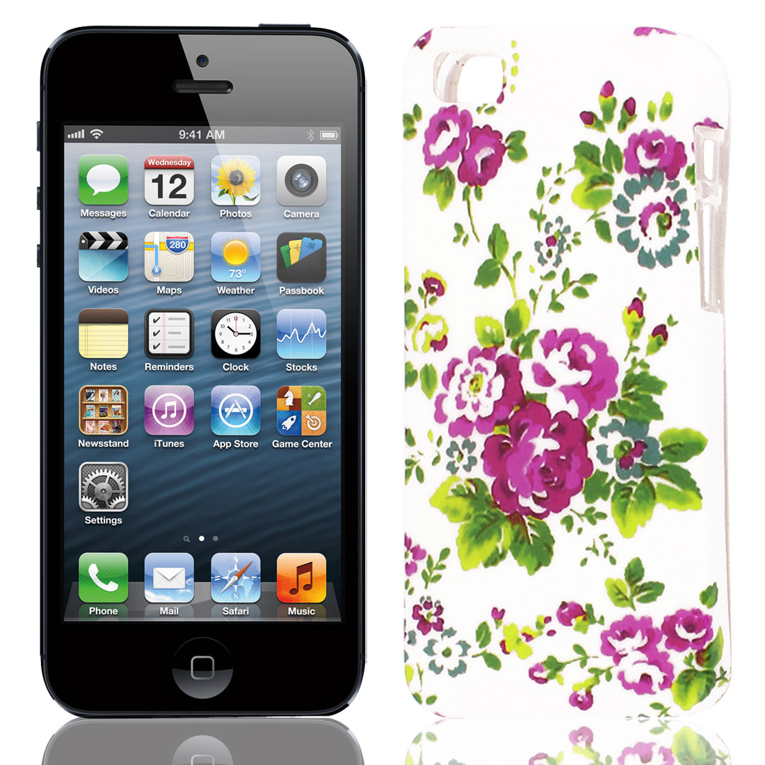 Green Fuchsia Flower Pattern Soft TPU Protective Case Cover for Apple iPhone 5 5G 5S