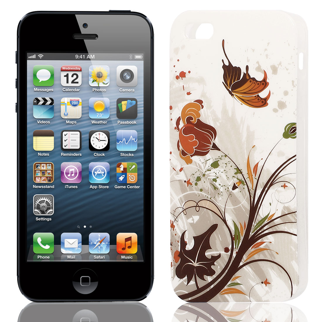 Brown Butterfly Pattern Soft TPU Protective Skin Case Cover for Apple iPhone 5 5G 5S