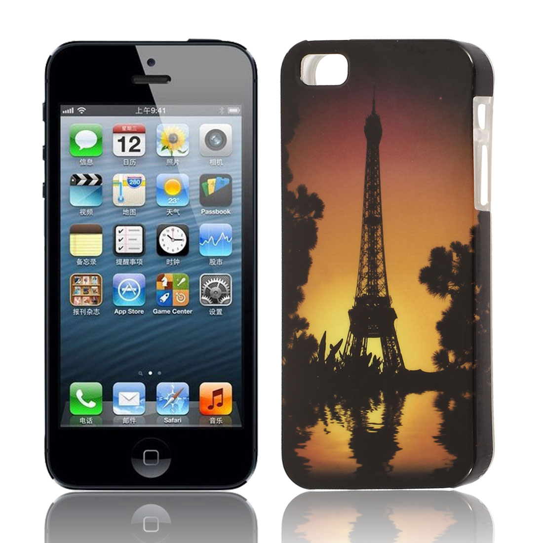 Paris Tower Dawn View Soft TPU Protective Skin Case Cover Black for Apple iPhone 5 5G 5S