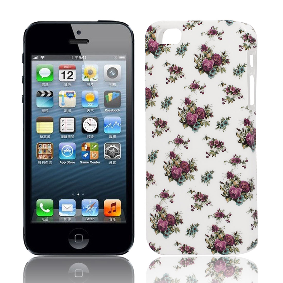 Green Fuchsia Pattern Soft TPU Protective Case Cover for Apple iPhone 5 5G 5S