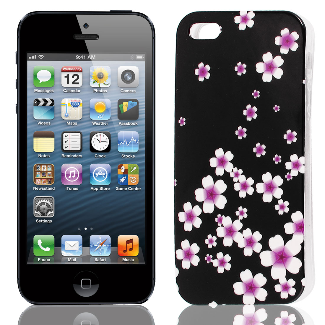 Fuchsia White Flower Pattern Soft TPU Protective Case Cover for Apple iPhone 5 5G 5S
