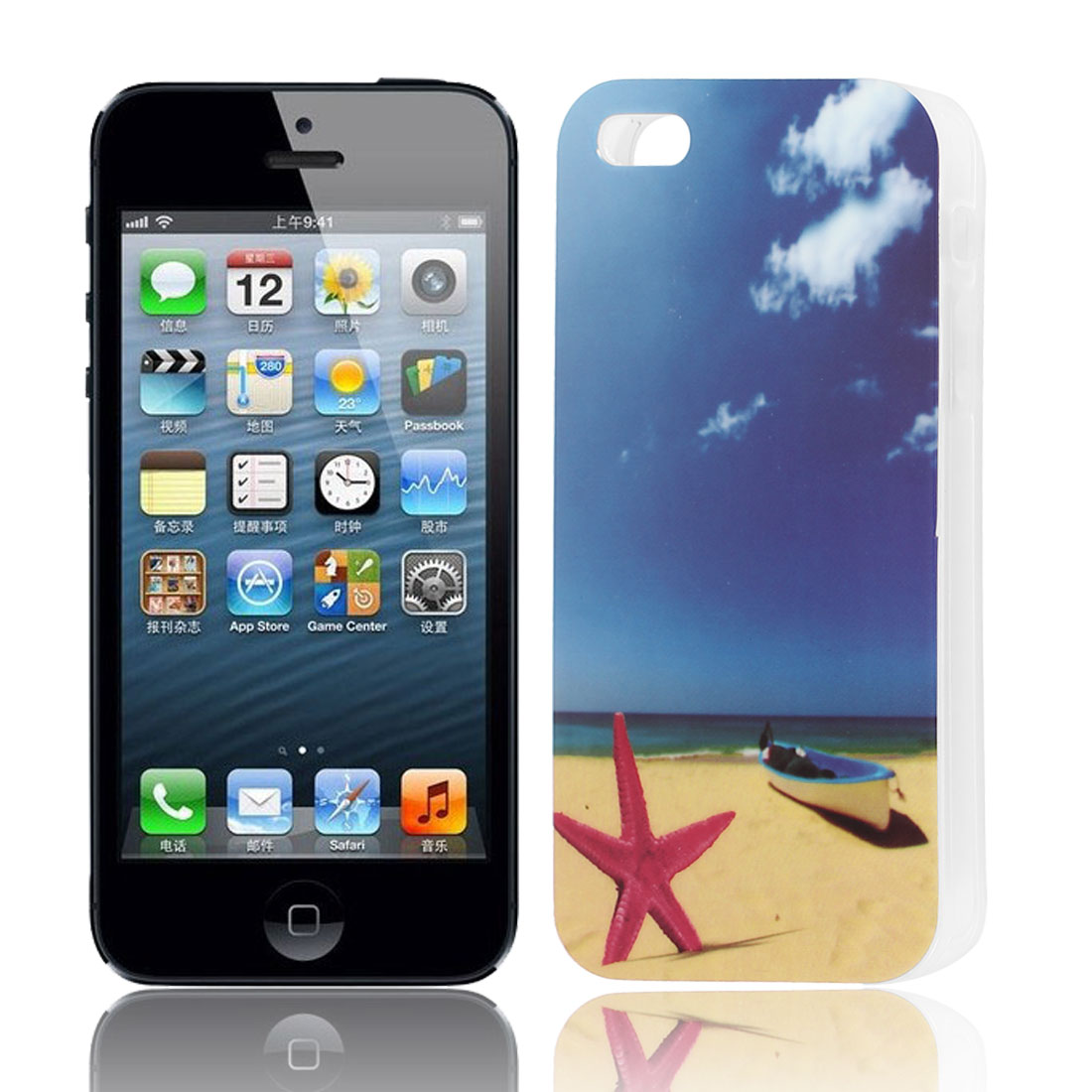 Blue Sky Beach Pattern Soft TPU Protective Skin Case Cover for Apple iPhone 5 5G 5S