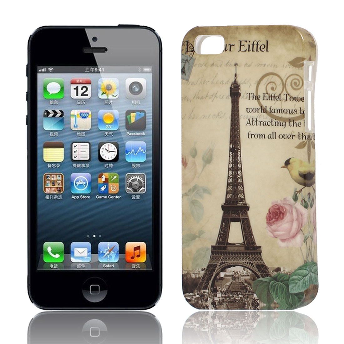 Paris Eiffel Tower Pattern Soft TPU Protective Case Cover Khaki for Apple iPhone 5 5G 5S