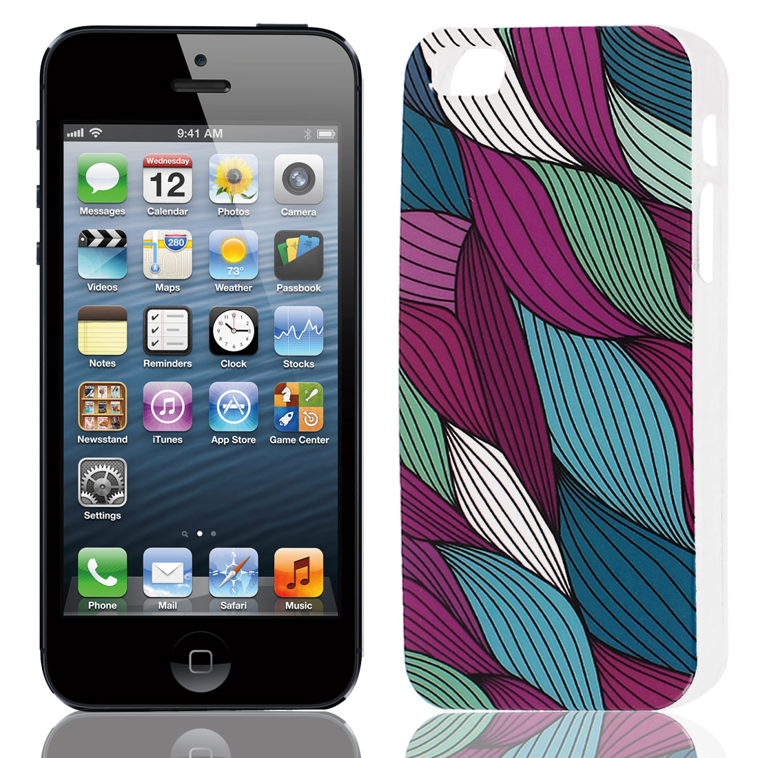 Colorful Line Pattern Hard TPU Protective Back Case Cover for Apple iPhone 5 5G 5S