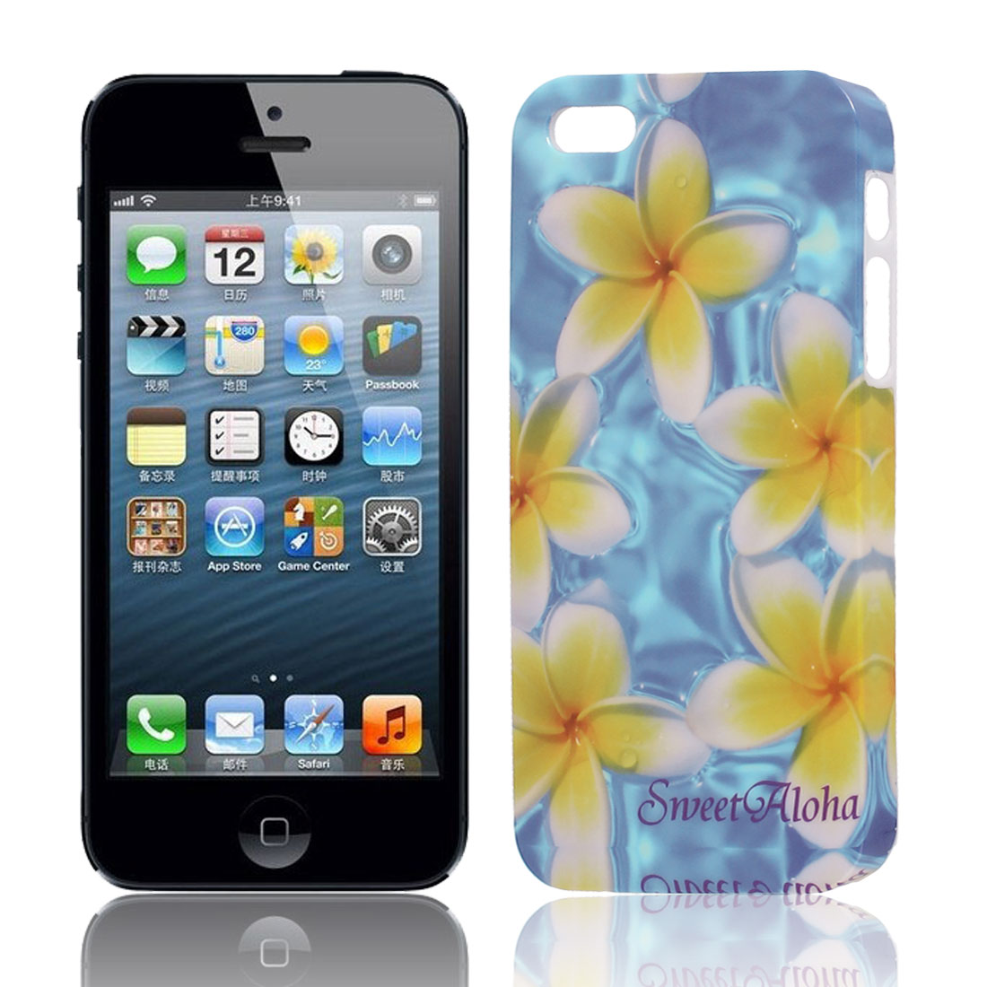Yellow White Flower Pattern Hard TPU Protective Back Case Cover for Apple iPhone 5 5G 5S