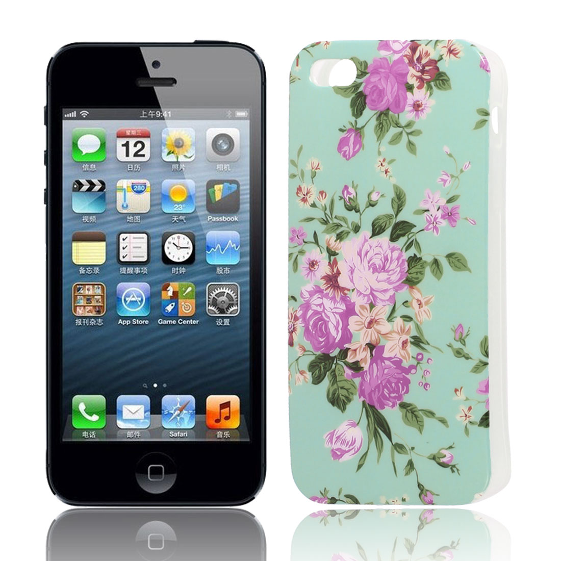 Fuchsia Flower Pattern Soft TPU Protective Skin Case Cover Cyan for Apple iPhone 5 5G 5S
