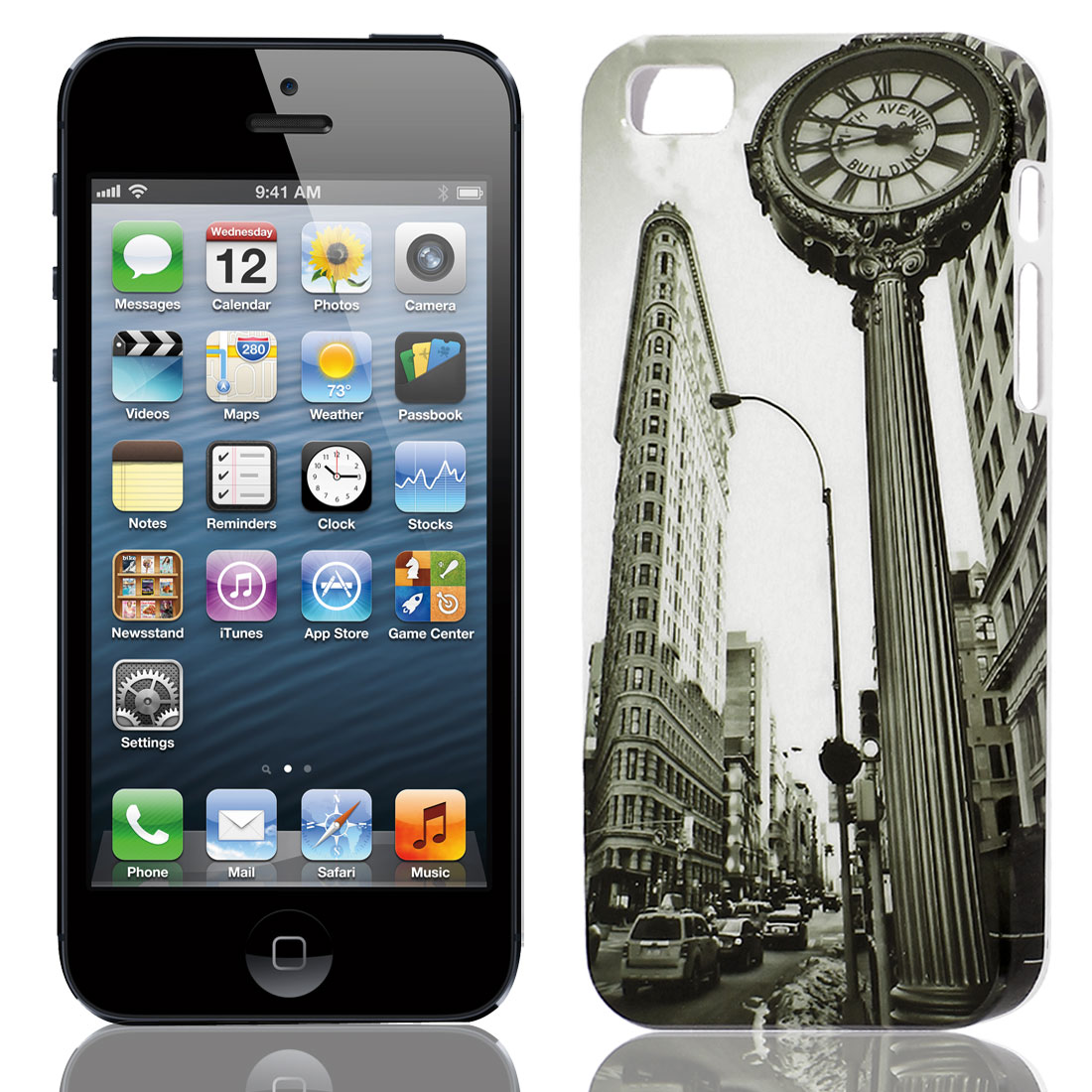 Fifth Avenue Building Clock Hard TPU Protective Back Case Cover Gray for Apple iPhone 5 5G 5S