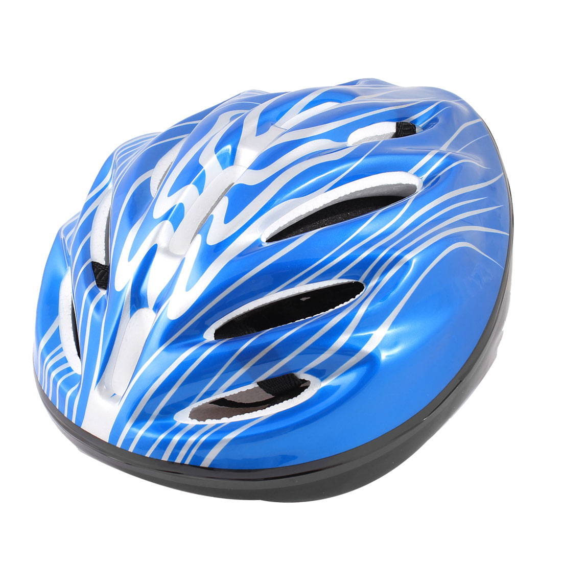 Adults Stripes Pattern Foam Sports Cycling Skating Helmet White Blue Black
